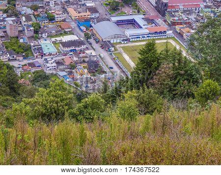 Aerial View Of Banos Town, Ecuadorbanos Town, Ecuador