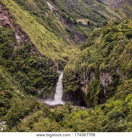 Cascade At Tropical Forest In Banos, Ecuador