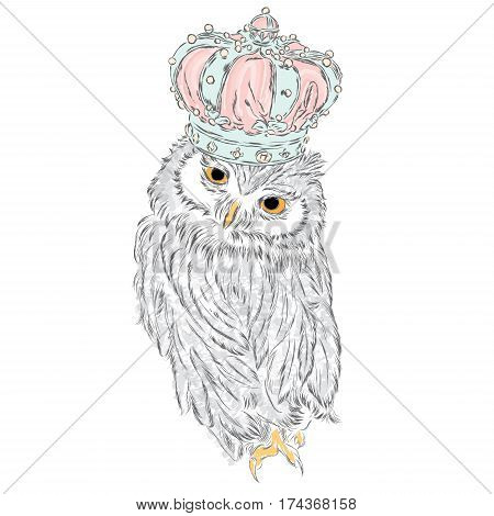 Beautiful owl with crown. Vector illustration for greeting card, poster, or print on clothes. Fashion & Style.