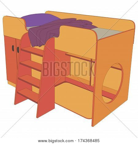 Vector kids wooden bunk bed isolated white