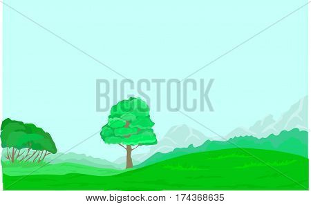Green glade, hills, tree, forest, mountains, grass.