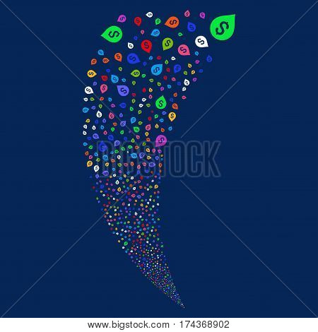 Banking Map Marker random fireworks stream. Vector illustration style is flat bright multicolored iconic symbols on a blue background. Object fountain constructed from scattered pictographs.