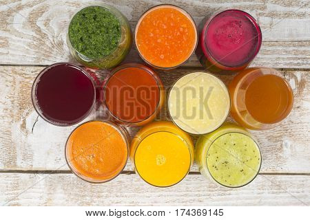 Various fresh squeezed fruit and vegetable juices.