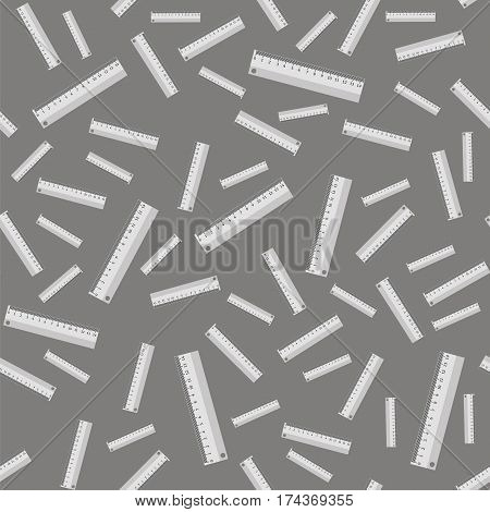 Metallic Ruler Seamless Pattern on Grey Background