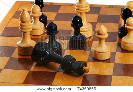 Chess black king gives up on chessboard