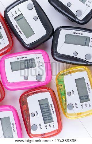 Close Top View Of Digital Pedometers