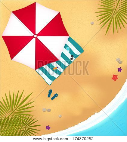 sea vacation illustration. beach with waves, umbrell and bright towel