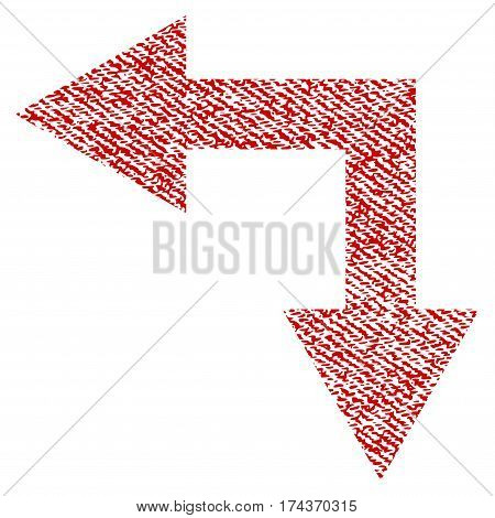 Bifurcation Arrow Left Down vector textured icon for overlay watermark stamps. Red fabric vectorized texture. Symbol with unclean design. Red ink rubber seal stamp with fiber textile structure.