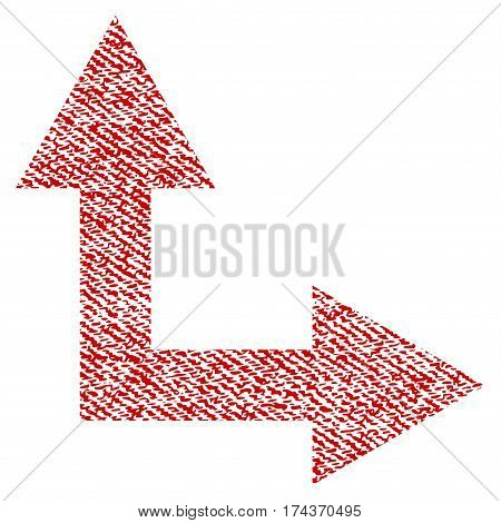Bifurcation Arrow Right Up vector textured icon for overlay watermark stamps. Red fabric vectorized texture. Symbol with dust design. Red ink rubber seal stamp with fiber textile structure.