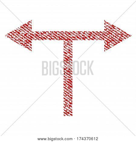 Bifurcation Arrows Left Right vector textured icon for overlay watermark stamps. Red fabric vectorized texture. Symbol with dust design. Red ink rubber seal stamp with fiber textile structure.