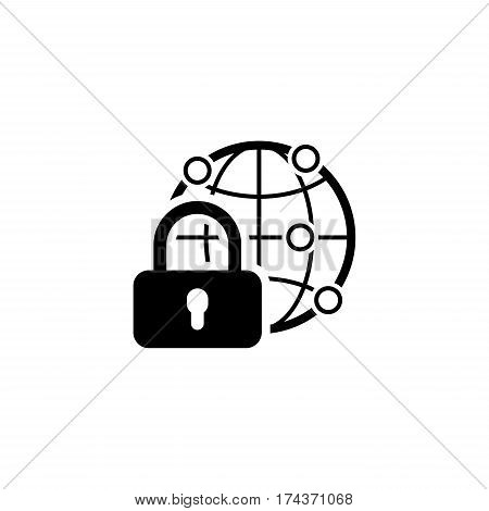 Global Security Icon. Flat Design. Business Concept. Isolated Illustration.