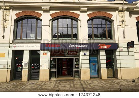 Prague, Czech Republic - March 3: Tesco Company Logo On The Supermarket Building On March 3, 2017 In