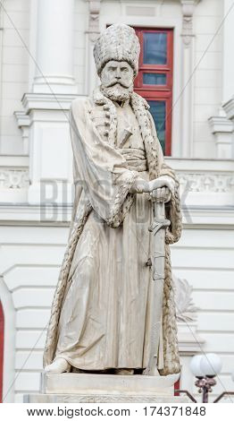 Bucharest, Romania - May 25, 2014: The Hospital Coltea. The Statue Of Mihail Cantacuzino