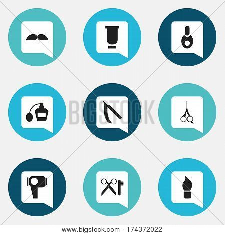 Set Of 9 Editable Coiffeur Icons. Includes Symbols Such As Vial, Scent, Scrub And More. Can Be Used For Web, Mobile, UI And Infographic Design.