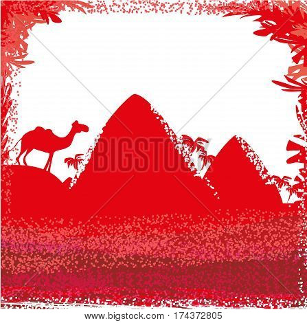Camel in wild africa - abstract card , vector illustration