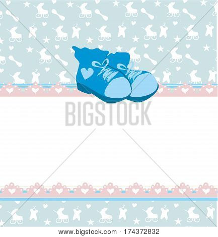 blue baby shower card with baby boy shoes , vector illustration
