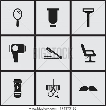 Set Of 9 Editable Coiffeur Icons. Includes Symbols Such As Whiskers, Shaving, Hair Drier And More. Can Be Used For Web, Mobile, UI And Infographic Design.