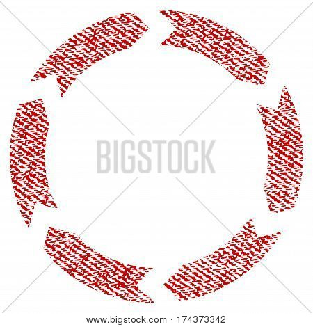 Circulation vector textured icon for overlay watermark stamps. Red fabric vectorized texture. Symbol with scratched design. Red ink rubber seal stamp with fiber textile structure.