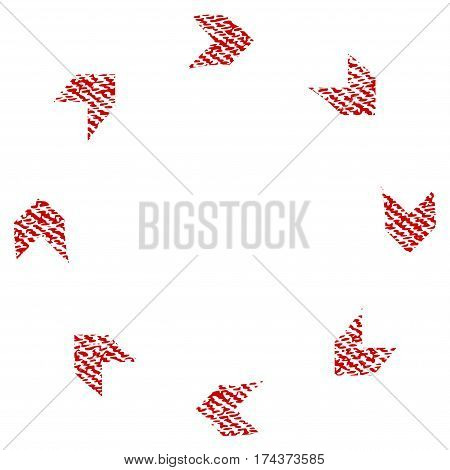 Circulation vector textured icon for overlay watermark stamps. Red fabric vectorized texture. Symbol with dust design. Red ink rubber seal stamp with fiber textile structure.