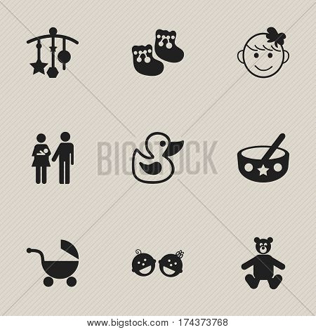 Set Of 9 Editable Child Icons. Includes Symbols Such As Adorn, Cheerful Child, Lineage And More. Can Be Used For Web, Mobile, UI And Infographic Design.