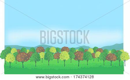autumn trees, autumn forest, mountain, blue sky