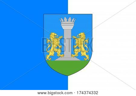 Flag of Ajaccio is a French commune prefecture of the department of Corse-du-Sud and capital city of Corsica. Vector illustration