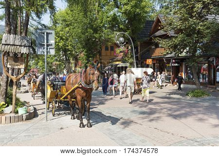 ZAKOPANE POLAND - SEPTEMBER 13 2016: Horse carriage awaits tourists to perform a ride around the city. The rides such carriages with sightseeing are a tourist attraction.
