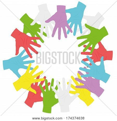 hands of different colors in a circle. symbol of autism. vector illustration.
