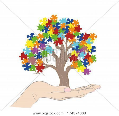 Puzzle Pieces in Autism Awareness Colors Background, 3D rendering. vector illustration