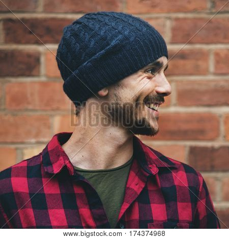 Man Beanie Hat Hipster Style Brick Wall Smiling Concept