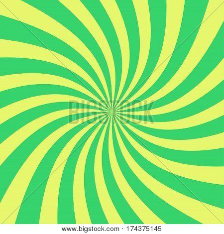 Sun rays background vector. Vector retro green sunburst