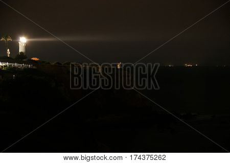 The Point Vicente Lighthouse beacon glows off Los Angeles, protecting shipping from the rocks of Palos Verdes.