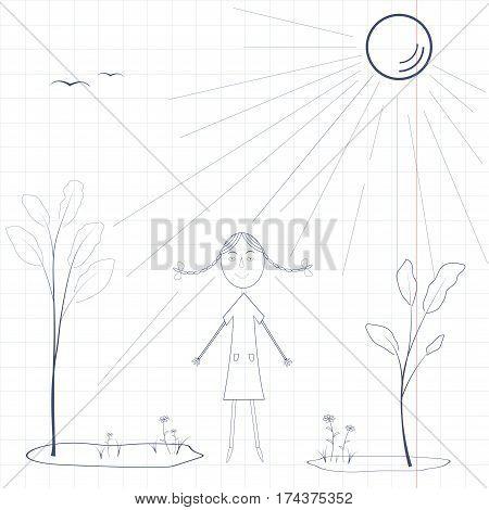 simple hildren drawing in school notebook, summer landscape