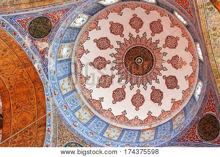 ISTANBUL, TURKEY - MARCH 30, 2012: Inside the islamic Blue mosque in Istanbul, Turkey