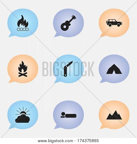 Set Of 9 Editable Travel Icons. Includes Symbols Such As Bed roll, Peak, Clasp-Knife And More. Can Be Used For Web, Mobile, UI And Infographic Design.