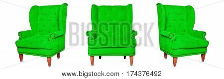 Textile classic green chair isolated on white background. View from different sides - front and two side views