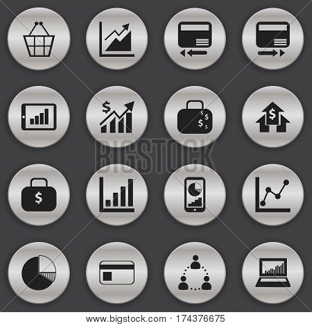 Set Of 16 Editable Statistic Icons. Includes Symbols Such As Transmission, Trading Purse, Statistic And More. Can Be Used For Web, Mobile, UI And Infographic Design.