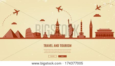 Travel composition with famous world landmarks. Travel and Tourism. Concept website template. Vector illsutration