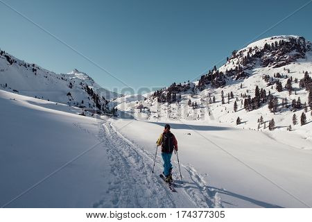 ski touring woman near bamberger huette in austria