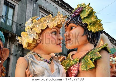 Acireale (CT) Italy - February 28 2017: detail of a allegorical float depicting the two mythological lovers Aci and Galatea during the carnival parade along the streets of Acireale.