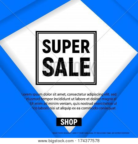 Poster sale with frame template for website, flyer