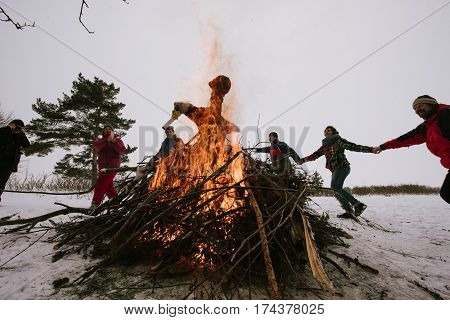 People Are Celebrating Shrovetide Traditional Celebration On The Shores Of The Gulf Of Finland
