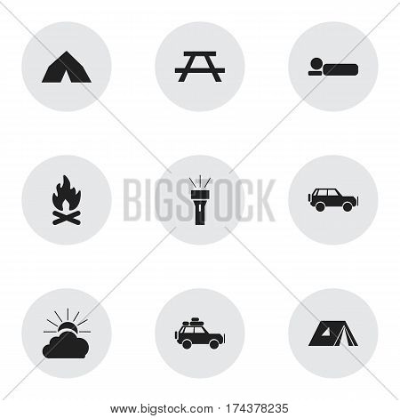 Set Of 9 Editable Trip Icons. Includes Symbols Such As Voyage Car, Shelter, Fever And More. Can Be Used For Web, Mobile, UI And Infographic Design.