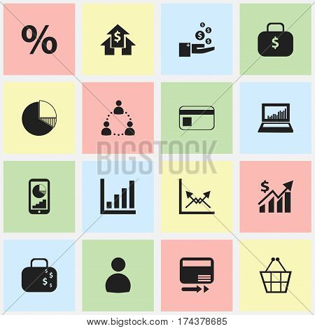 Set Of 16 Editable Logical Icons. Includes Symbols Such As Banking House, Phone Statistics, Money Bag And More. Can Be Used For Web, Mobile, UI And Infographic Design.
