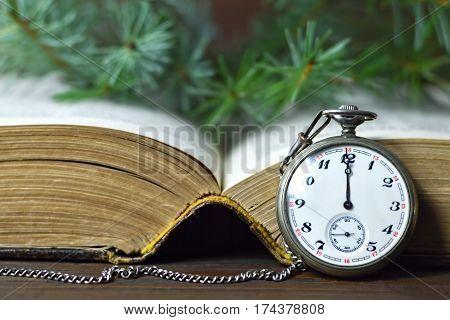 Midnight clock: Vintage pocket watch showing midnight