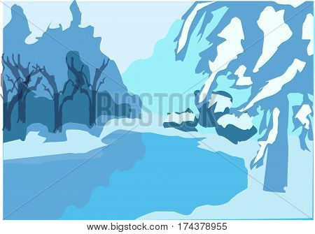 Snowy landscape. Rink, trees in snow, snowdrifts.