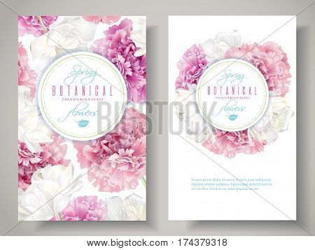 Vector botanical banners with pink peony and white tulip flowers on white background. Romantic design for natural cosmetics, perfume, women products. Can be used as greeting card or wedding invitation