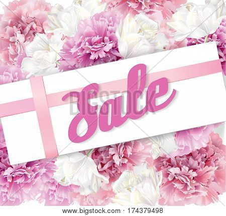 Vector spring sale horizontal banner with pink peony and white tulips on white background. Romantic design for natural cosmetics, perfume, women products, girl clothes. Discount poster, stiker, card