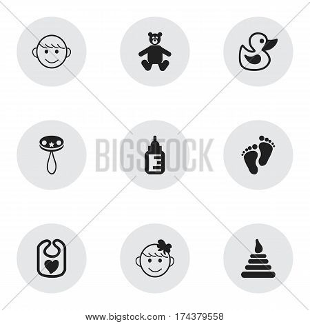 Set Of 9 Editable Infant Icons. Includes Symbols Such As Tower, Rattle, Footmark And More. Can Be Used For Web, Mobile, UI And Infographic Design.
