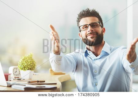 Man With Hands Towards Camera